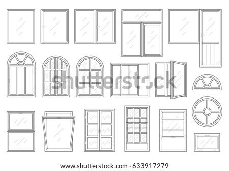 Icons Set Windows Different Types Pictogram Stock