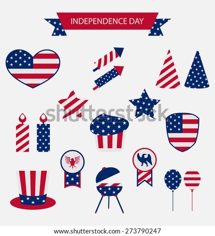 Icons Set USA Flag Color Independence Day 4th of July Patriotic Symbolic Decoration for Holiday or Celebration Backgrounds - raster