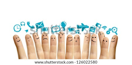 icons social network and happy finger smileys - stock photo