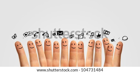 icons social network and happy group of finger smileys