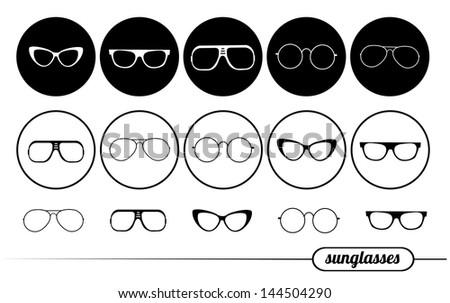 icons sunglasses - stock photo