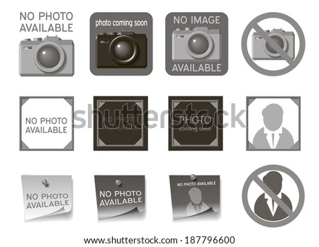 Icons to fill the place of missing photos - stock photo