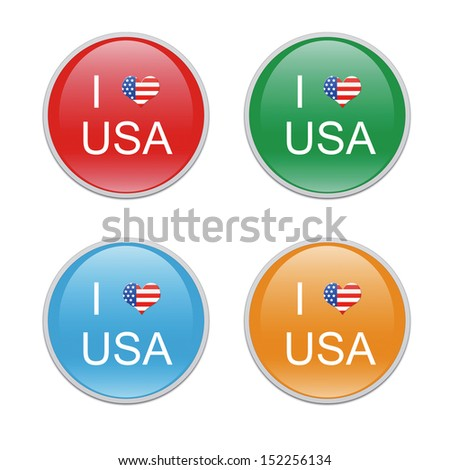 Icons to symbolize I Love USA in red, green, blue and orange colors - stock photo