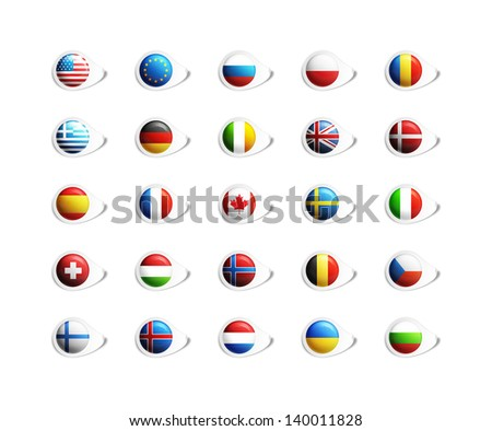 Icons with national flags - stock photo