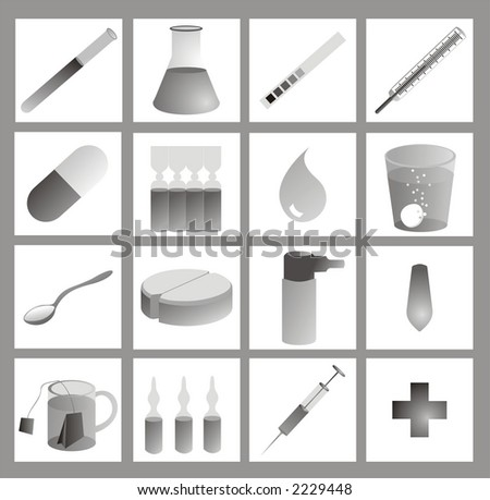 iconset - 16 medical or pharmaceutical icons or cliparts, greyscale with gradients on white background
