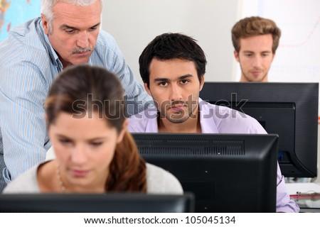 ICT lesson - stock photo