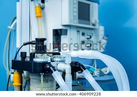 ICU anaesthesia ventilator workstation in the emergency room in stand by mode. - stock photo