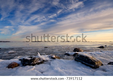 Icy beach in Helsinki, Finland. - stock photo
