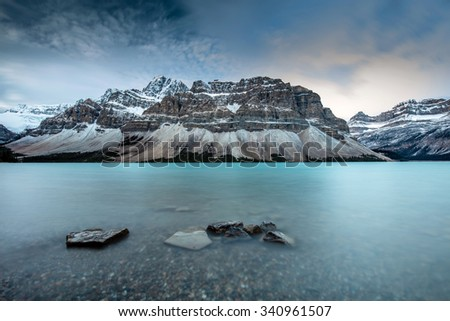 Icy Blue Bow Lake on the Icefield Parkway, Banff National Park, Alberta, Canada