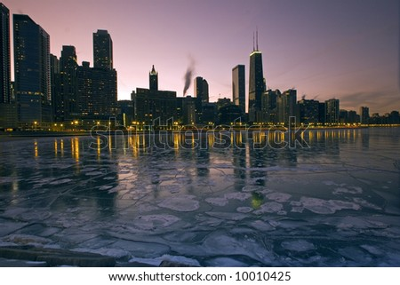 Icy Chicago - middle of January. - stock photo