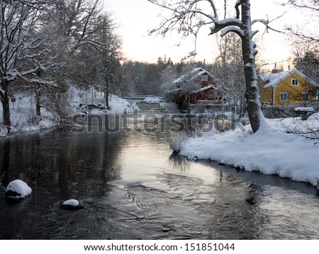 Icy cold river scene with snow