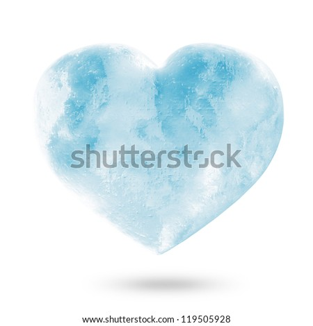 Icy Heart isolated on white background - stock photo