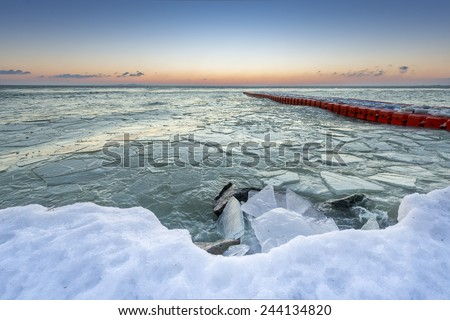 Icy Lake Balaton in Winter By Sunrise, Hungary - stock photo
