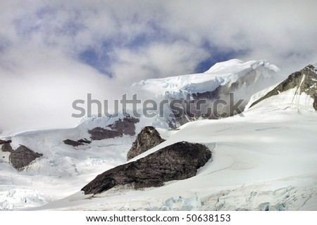Icy Landscape with snow capped mountains