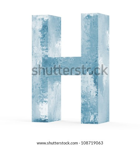 Icy Letters isolated on white background (Letter H)
