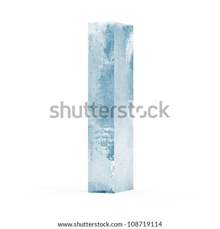 Icy Letters isolated on white background (Letter I) - stock photo