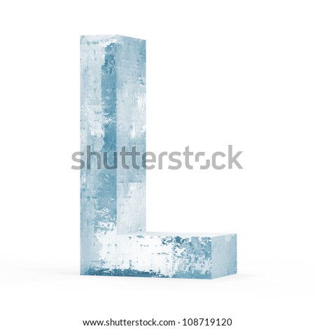 Icy Letters isolated on white background (Letter L) - stock photo