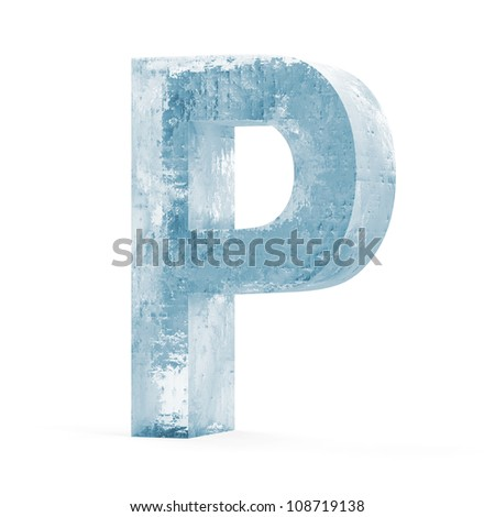 Icy Letters isolated on white background (Letter P)