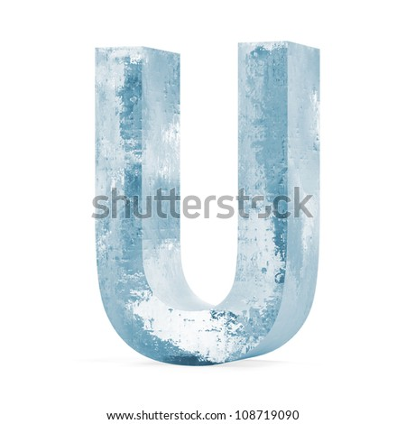 Icy Letters isolated on white background (Letter U) - stock photo
