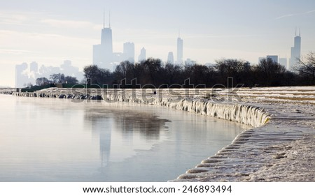 Icy morning in Chicago, Illinois. - stock photo
