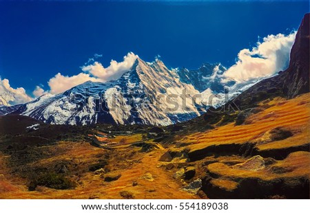 Icy mountain landscape with high peak and yellow valley. Digital illustration for tourism banner. Nepal nature environment concept. Severe climate or weather of Himalayas. Wild place outdoor traveling
