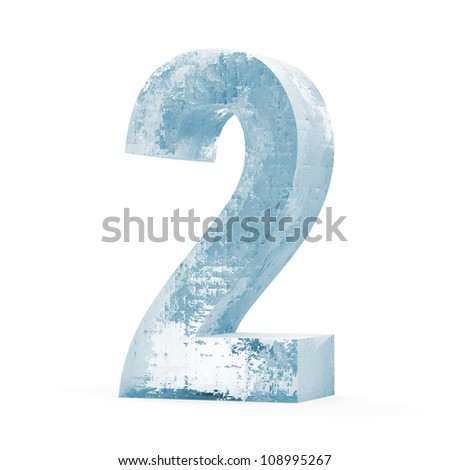 Icy Numbers isolated on white background (Number 2)