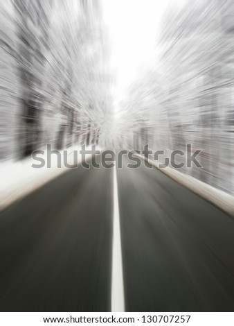 Icy road - Danger for drivers concept