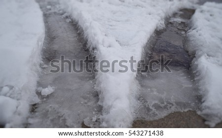 Icy Road Track Tyre Path (Pure Michigan,  USA)