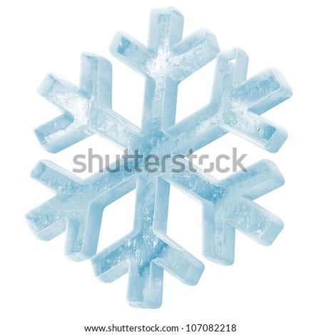 Icy Snowflake Icon isolated on white background - stock photo