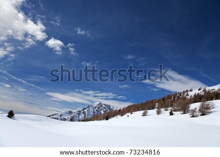 Icy Valley. Top of Cane�s Valley during winter. Brixia province, Lombardy region, Italy - stock photo