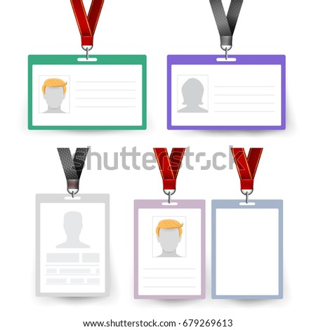 Id Badge Set Name Tag Employee Stock Illustration - Employee name tags template