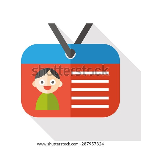 id card flat icon with long shadow - stock photo