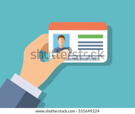 Id cards in hand. Illustration in flat style