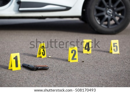 ID tents at crime scene after gunfight & Evidence Marker Stock Images Royalty-Free Images u0026 Vectors ...