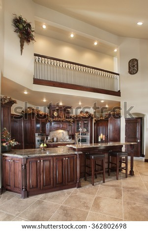 Idaho Falls, Idaho, USA, Feb. 28, 2008 The kitchen in a custom built upscale home, with a professional appliances, and granite counter tops. - stock photo