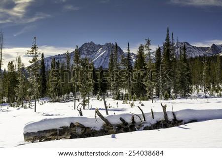 Idaho mountain range in winter - stock photo