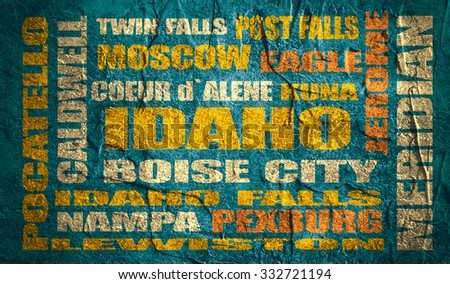idaho state cities list on concrete textured grunge backdrop - stock photo