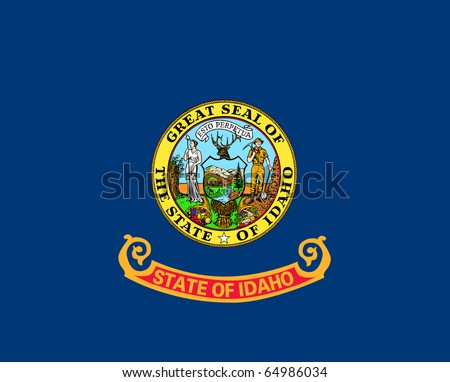 Idaho state flag of America, isolated on white background. - stock photo