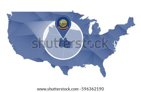 Idaho Us State Map Flag Circle Stock Vector Shutterstock - Us map idaho