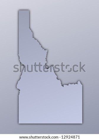 Idaho (USA) map filled with metallic gradient. Mercator projection.