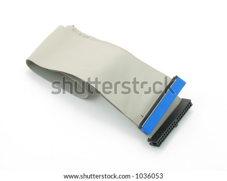 IDE cable in isolated white - stock photo