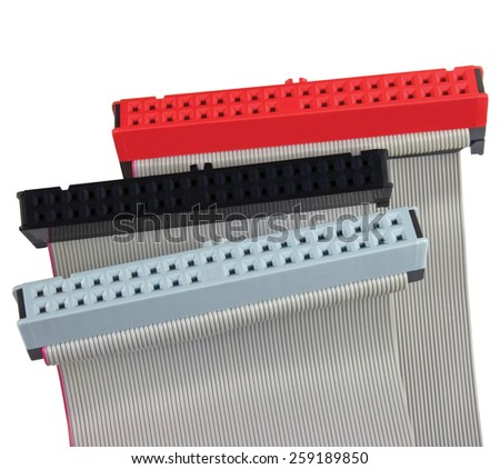 IDE connectors and ribbon cables for hard drive on PC Mac computer, isolated, red, grey, black, macro closeup - stock photo
