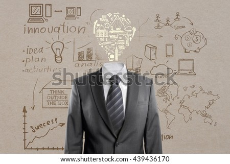 Idea and innovation concept with light bulb headed businessman and business sketch on concrete background