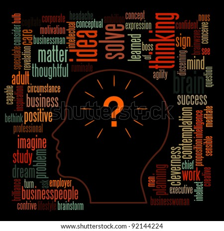 Idea and thinking info-text graphics and arrangement concept on dark background - stock photo