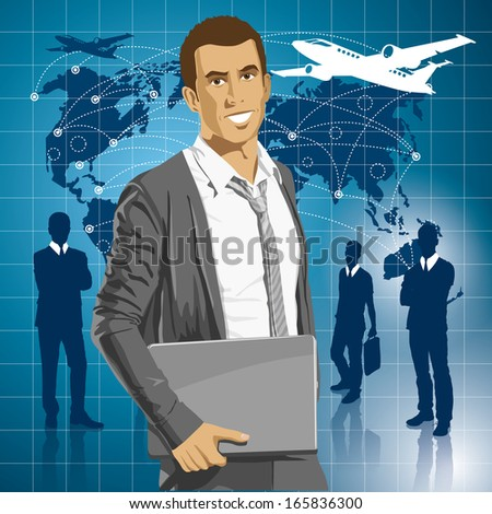 Idea and travel concept. Business man with laptop in his hands
