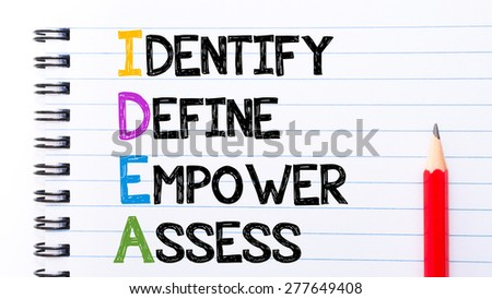IDEA as Identify, Define, Empower, Assess Text written on notebook page, red pencil on the right. Motivational Concept image - stock photo