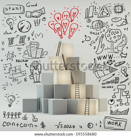 Idea boxes concept - stock photo