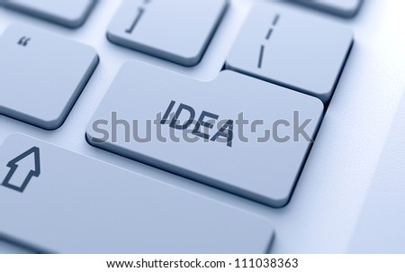 Idea button on keyboard with soft focus