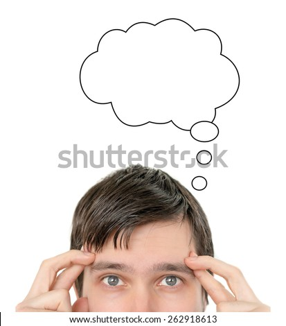 Idea cloud above thinking man's head