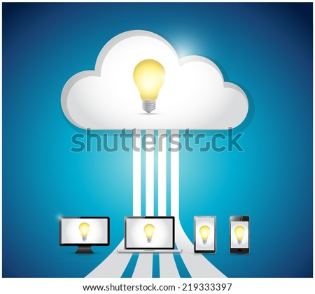 idea cloud computing and electronics. illustration design over a blue background